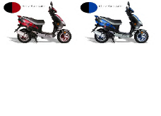 Vento Zip scooter, 50cc scooters in blue and red, Vento scooters, 50cc scooter, gas scooters